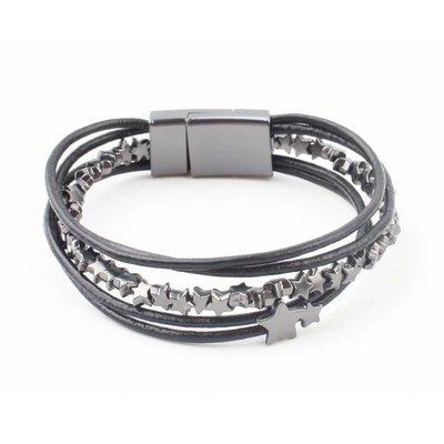 "Leather bracelet ""Stars"" black"