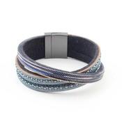 "Bracelet ""Crossed row"" blue"