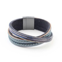 "Bracelet ""Crossed row"" blue"