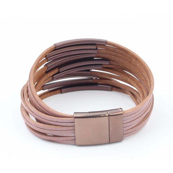 """Leder armband """"Multi Tubes"""" rosa"""