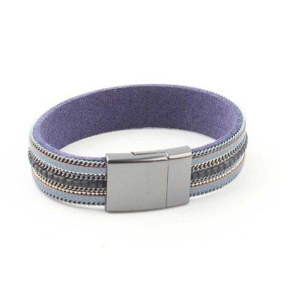 """Armband """"Kette & Strass"""" blau"""