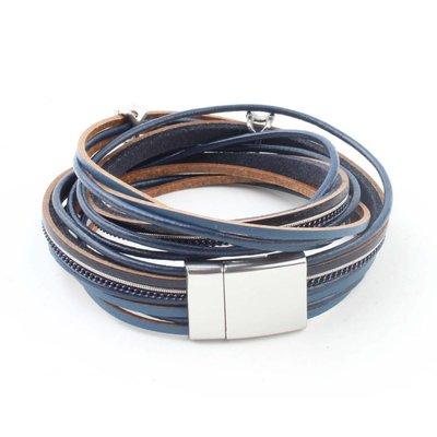 "Leder Wickelarmband ""Stern"" blau"
