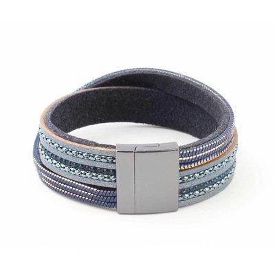 """Armband """"Gekruist Rij"""" blauw"""