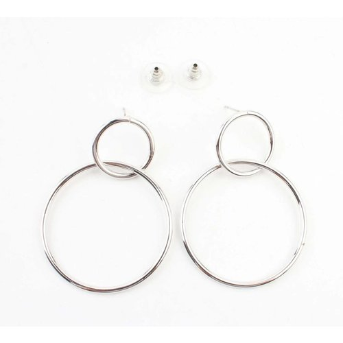 "Oorbel ""Dubbel ring"" zilver"