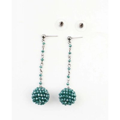 "Earring ""Rhinestone ball"" green"