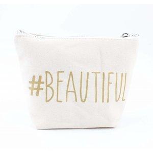 "Make up bag ""Beautiful"" white"