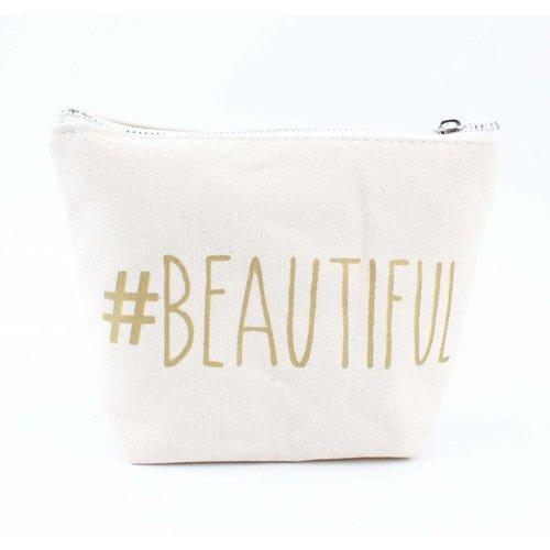 """Make-up tasje """"Beautiful"""" wit"""