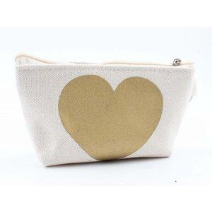 "Mini pouch ""Heart"" white"