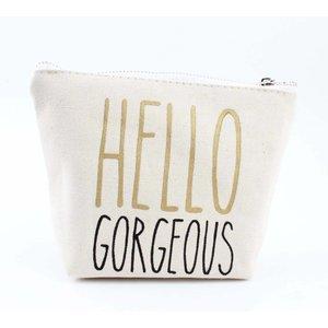 """Make up bag """"Hello Gorgeous"""" white"""