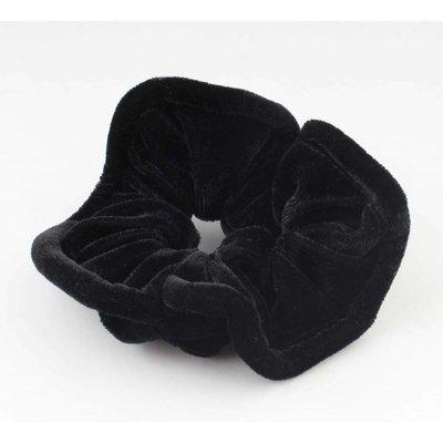 """Haarelastiek """"Scrunchie"""" zwart, per 3st."""