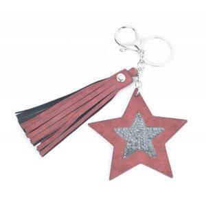 """Schlüsselanhänger """"Star & Quaste"""" rot"""