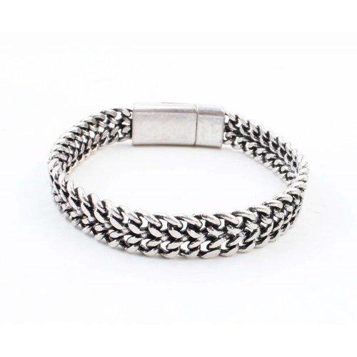 """Armband """"Dubbele grove schakels"""" zilver"""