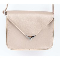 "Crossbody bag ""Triangle"" pink metallic"