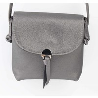 "Crossbody tas "" Metalen oog"" grijs metallic"