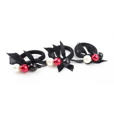 "Haargummibänder ""Kugeln"" schwarz/rot, pro 3 Stück"