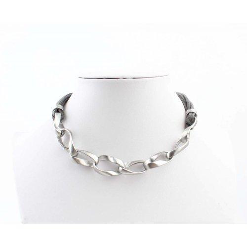 "Halskette ""Geschaltet Links"" grau"