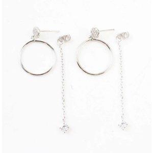 """Oorbel """"Ring & Ketting"""" zilver"""