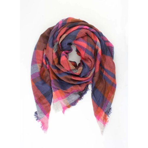 """Scarf """"Fancy checkered"""" pink"""