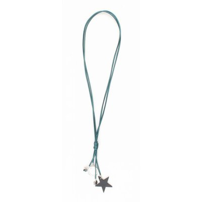 "Long necklace ""Star & Coins"" petrol metallic"