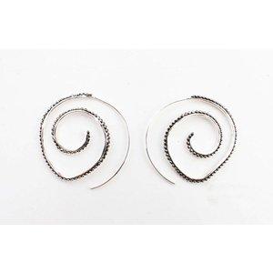 """Earring Spiral """"Balls"""" silver"""