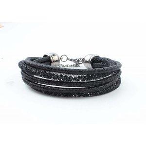 """Armband """"5-rijen"""" zwart"""