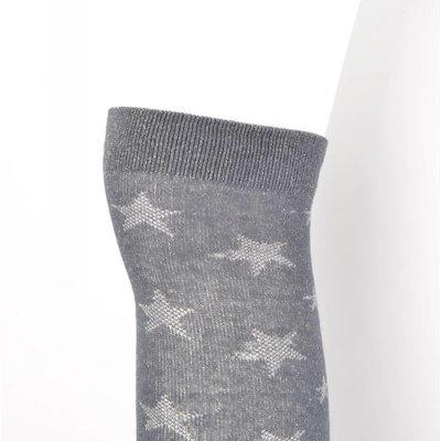 """Overknee sokken  """"Sterren"""" grijs"""