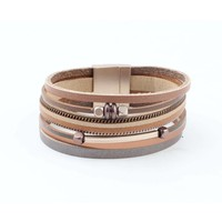 "Wrap bracelet ""Cube & Tube"" brown"