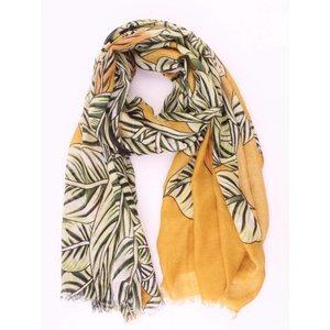 """Sjaal """"Tropical leaves"""" groen-oker"""