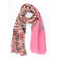 """Scarf """"Tropical leaves"""" pink"""