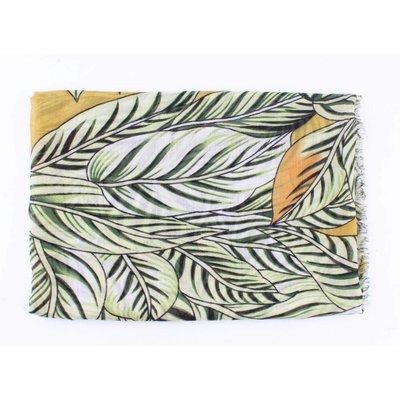 """Schal """"Tropical leaves"""" grün-Ocker"""