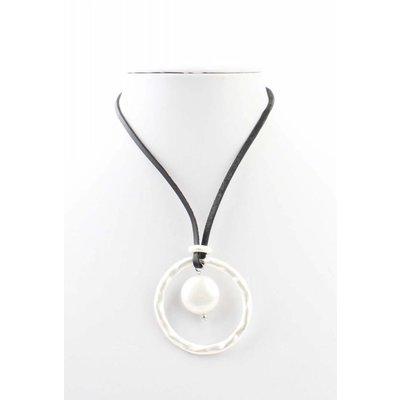 """Halskette """"Perle"""" schwarz/silber"""