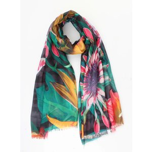 """Scarf """"Tropical flowers"""" green"""