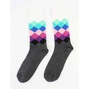 """Heren sokken """"Ruit"""" wit"""