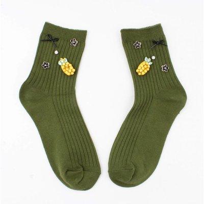"""Sokken """"Ananas"""" groen"""
