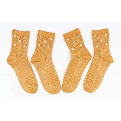 """Sokken """"Sporty parel"""" oker per 2 paar"""