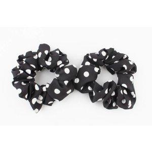 """Scrunchie """"Dots"""" zwart per 2 st."""