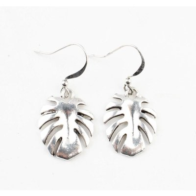 """Earring """" Leaf"""" matt silver"""