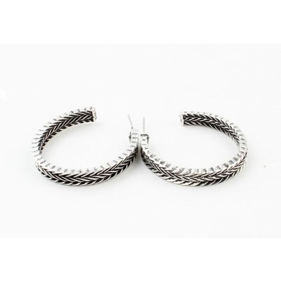 "Metal earring ""Yeliz"" old silver"