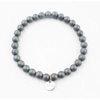 "Bracelet natural stone ""Hematite"" mat grey"