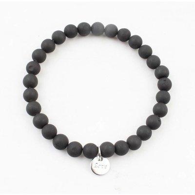 """Armband natuursteen """"Black Onyx"""" mat zwart"""