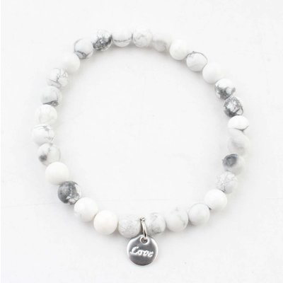 "Armband natuursteen ""White Chalcedony"" wit"