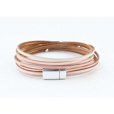 "Wrap bracelet leather "" Petro "" pink"