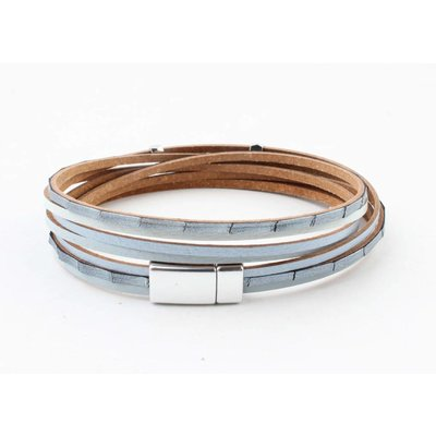 "Wrap bracelet leather "" Petro "" blue"