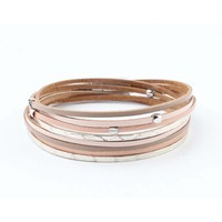 "Wrap bracelet leather "" Petro "" taupe"