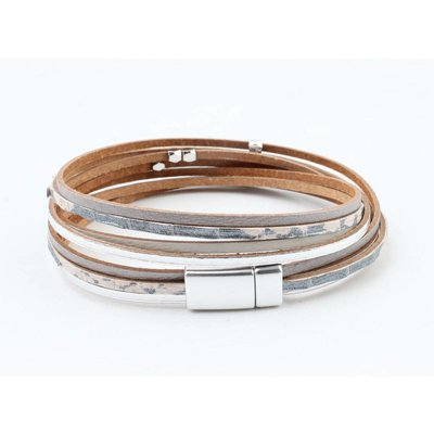 "Wrap bracelet leather "" Petro "" grey"