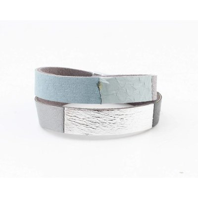 """Wickel-Armband Leder """"Nella"""" grau"""