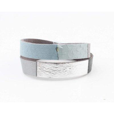 "Wrap bracelet leather "" Nella "" grey"