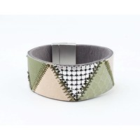 "Bracelet leather "" Niva "" olive green"