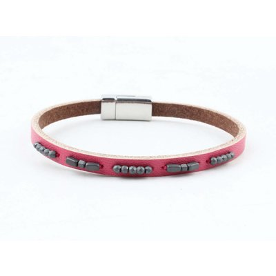 "Armband leer ""Aster""  roze"