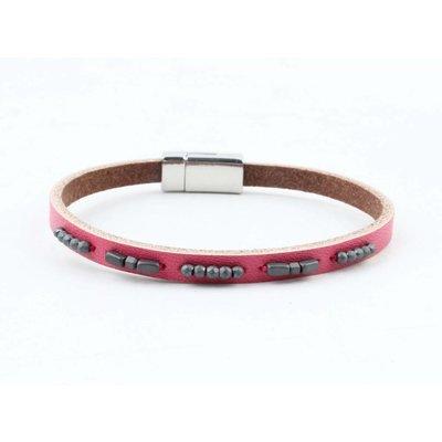 """Bracelet leather """" Aster """" pink"""